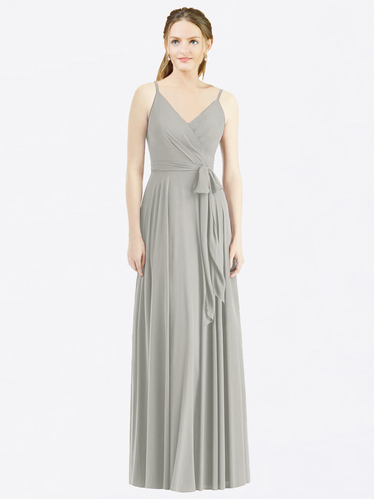 Long A-Line Spaghetti Straps, V-Neck Sleeveless Silver Chiffon Bridesmaid Dress Madilyn