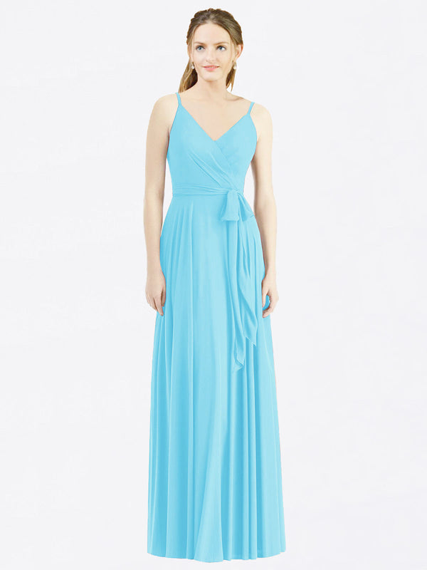 Long A-Line Spaghetti Straps, V-Neck Sleeveless Sky Blue Chiffon Bridesmaid Dress Madilyn