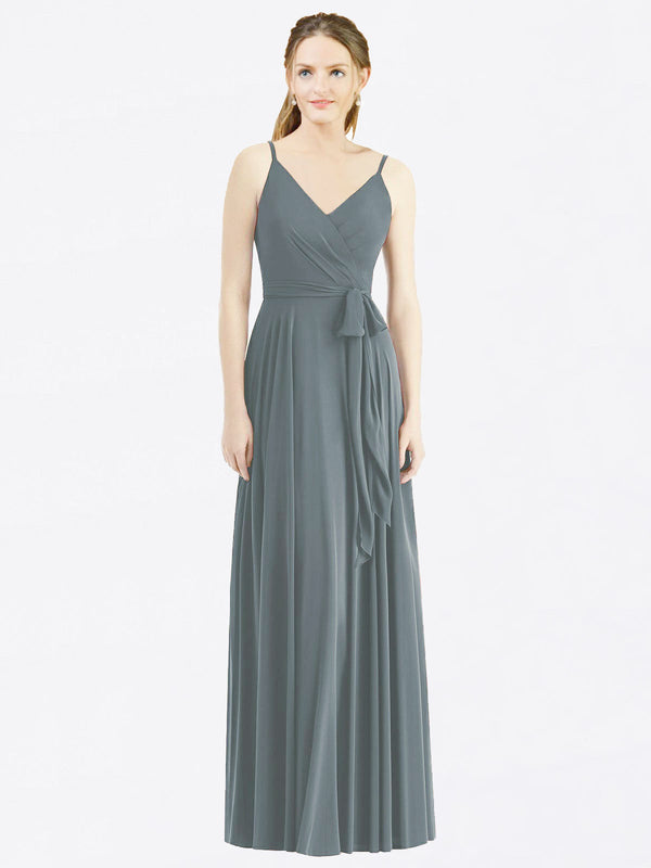 Long A-Line Spaghetti Straps, V-Neck Sleeveless Slate Grey Chiffon Bridesmaid Dress Madilyn