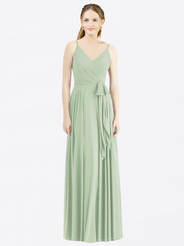 Long A-Line Spaghetti Straps, V-Neck Sleeveless Smoke Green Chiffon Bridesmaid Dress Madilyn