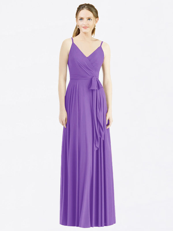 Long A-Line Spaghetti Straps, V-Neck Sleeveless Tahiti Chiffon Bridesmaid Dress Madilyn