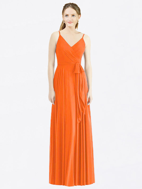 Long A-Line Spaghetti Straps, V-Neck Sleeveless Tangerine Tango Chiffon Bridesmaid Dress Madilyn