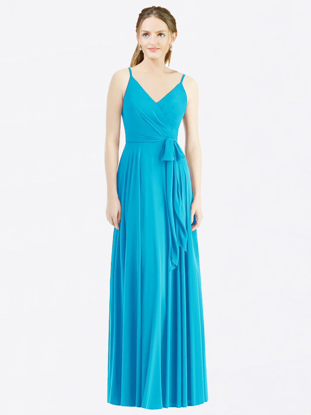 Long A-Line Spaghetti Straps, V-Neck Sleeveless Turquoise Chiffon Bridesmaid Dress Madilyn