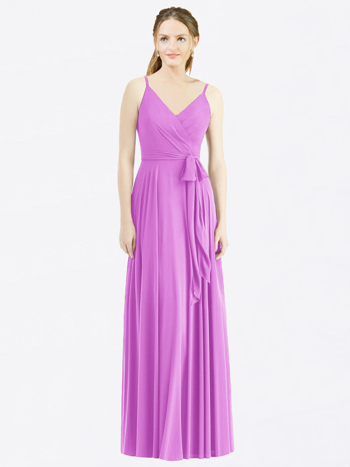 Long A-Line Spaghetti Straps, V-Neck Sleeveless Violet Chiffon Bridesmaid Dress Madilyn