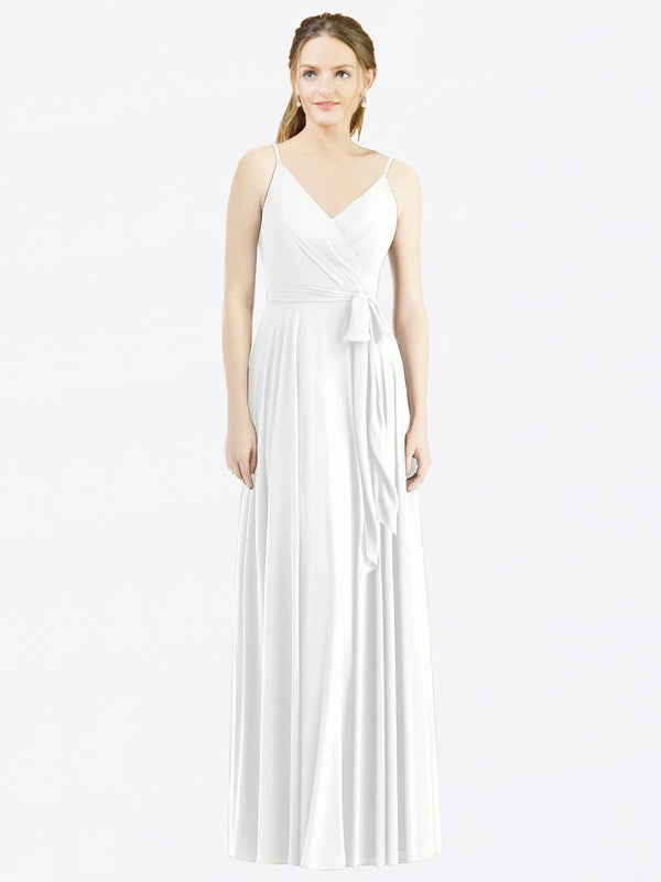 Long A-Line Spaghetti Straps, V-Neck Sleeveless White Chiffon Bridesmaid Dress Madilyn