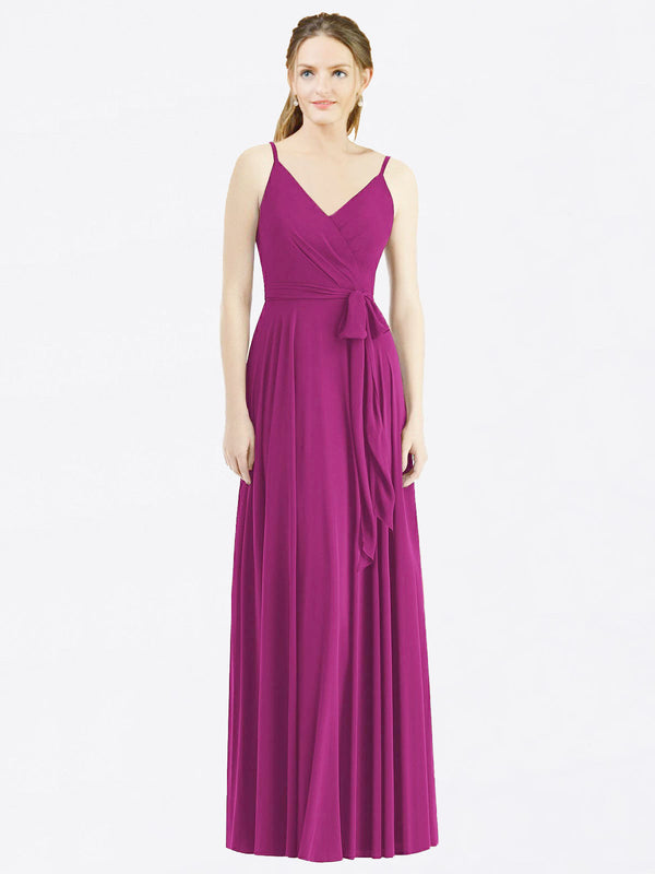 Long A-Line Spaghetti Straps, V-Neck Sleeveless Wild Berry Chiffon Bridesmaid Dress Madilyn