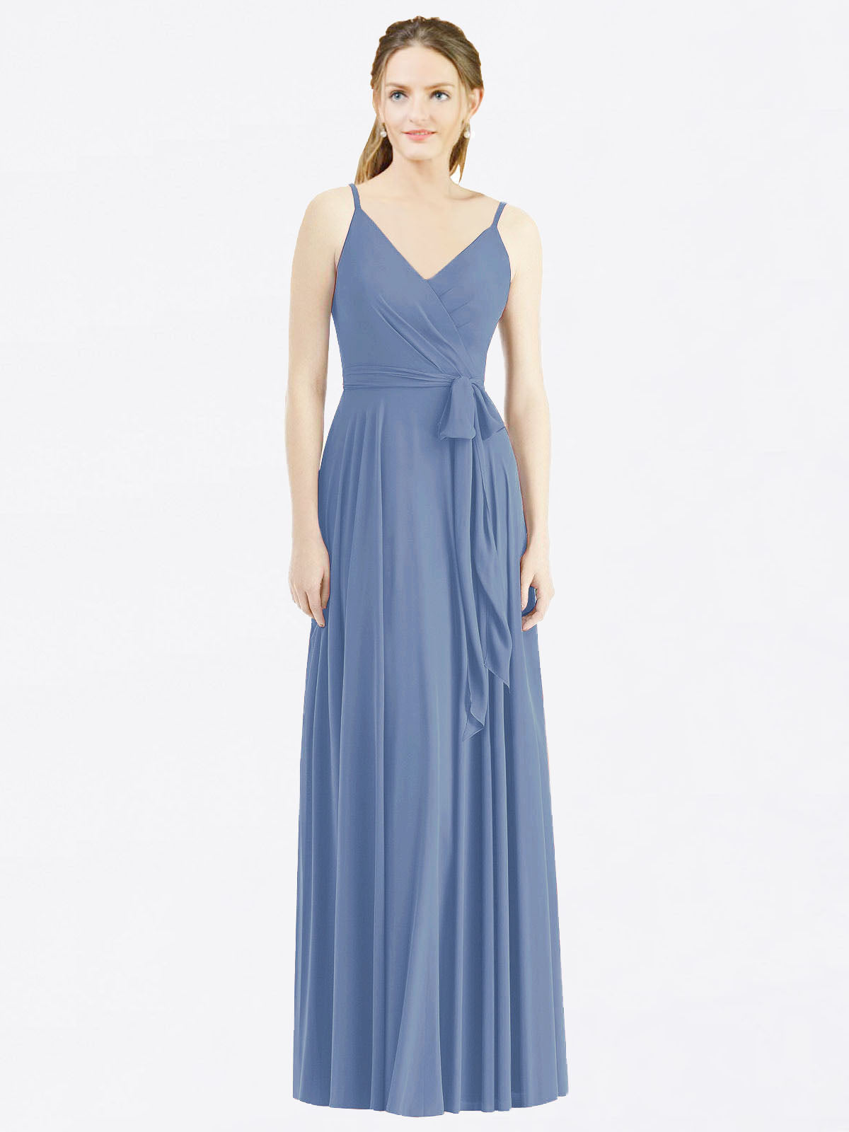Long A-Line Spaghetti Straps, V-Neck Sleeveless Windsor Blue Chiffon Bridesmaid Dress Madilyn