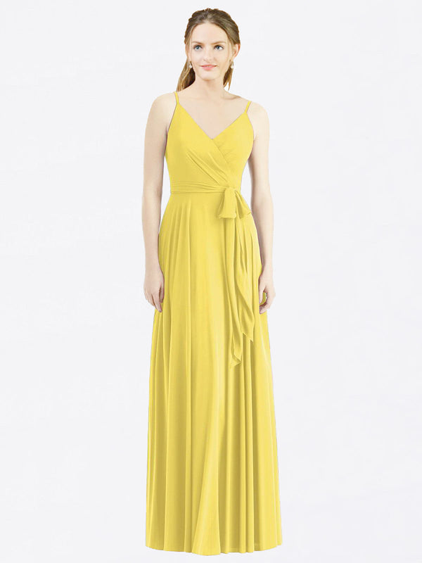 Long A-Line Spaghetti Straps, V-Neck Sleeveless Yellow Chiffon Bridesmaid Dress Madilyn