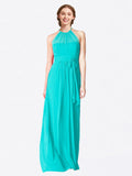 Long A-Line Halter Sleeveless Aqua Chiffon Bridesmaid Dress Laura
