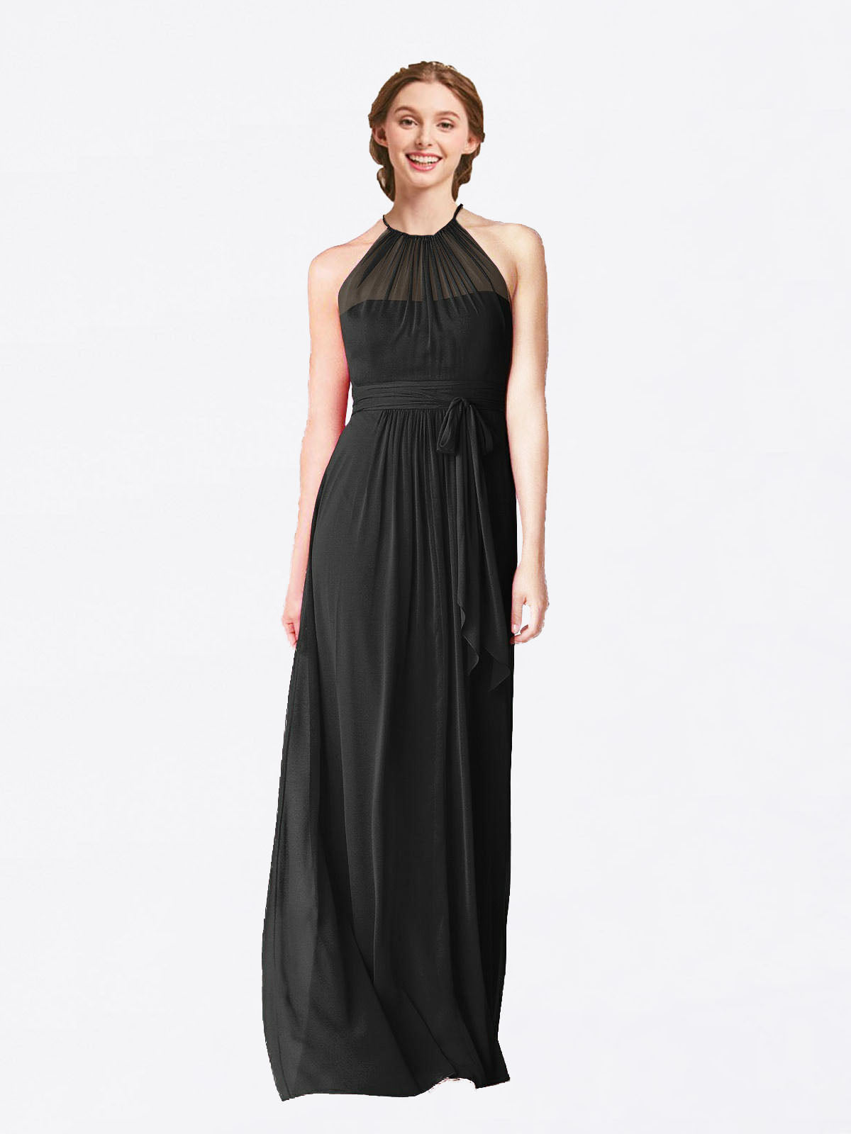 Long A-Line Halter Sleeveless Black Chiffon Bridesmaid Dress Laura