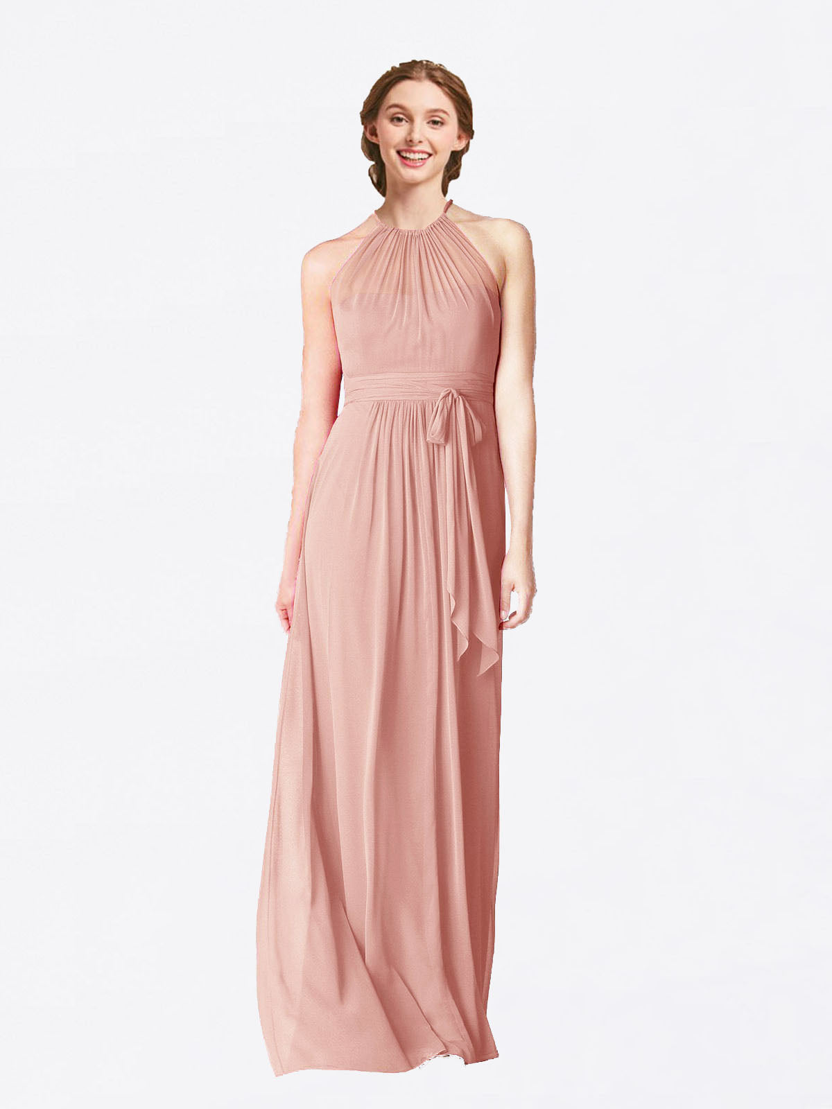 Long A-Line Halter Sleeveless Bliss Chiffon Bridesmaid Dress Laura