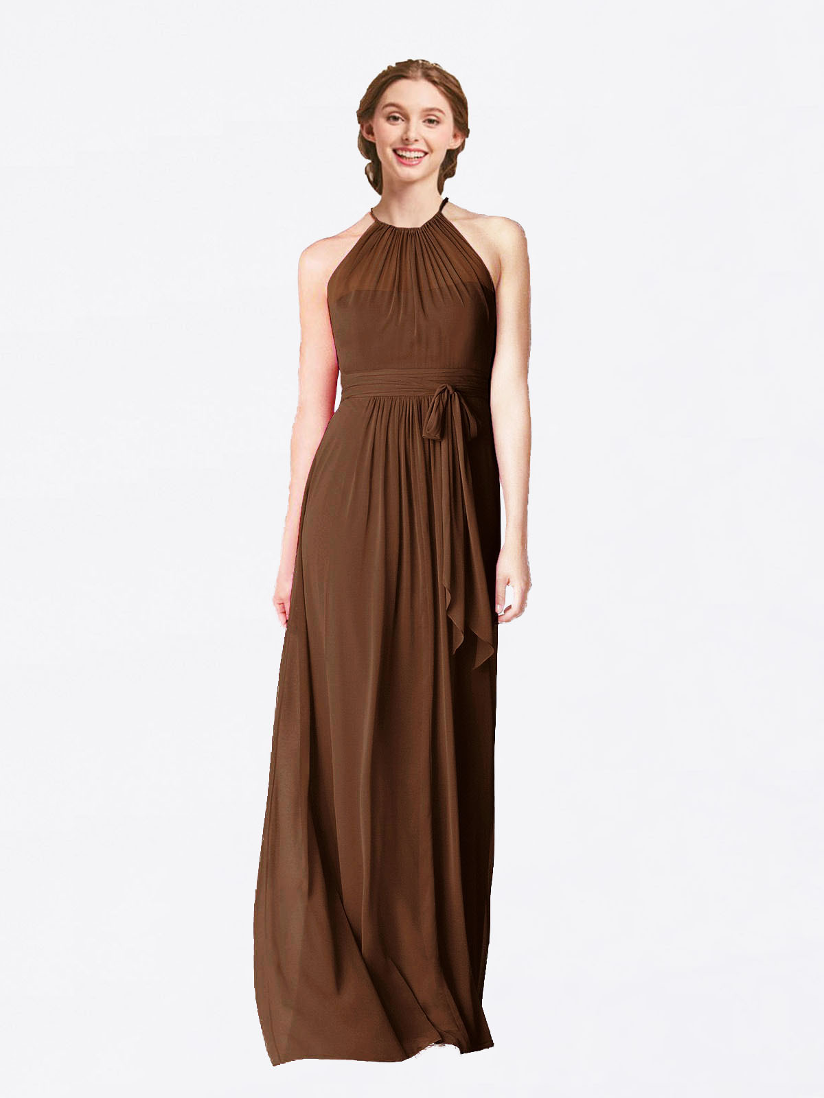 Long A-Line Halter Sleeveless Brown Chiffon Bridesmaid Dress Laura
