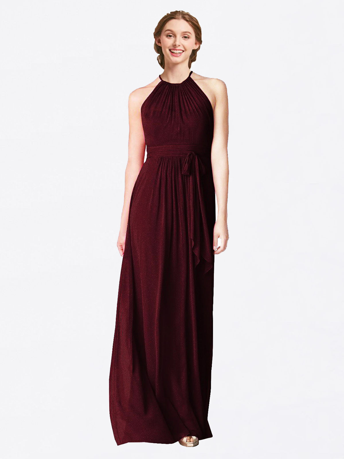 Long A-Line Halter Sleeveless Burgundy Gold Chiffon Bridesmaid Dress Laura