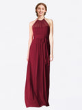 Long A-Line Halter Sleeveless Burgundy Chiffon Bridesmaid Dress Laura