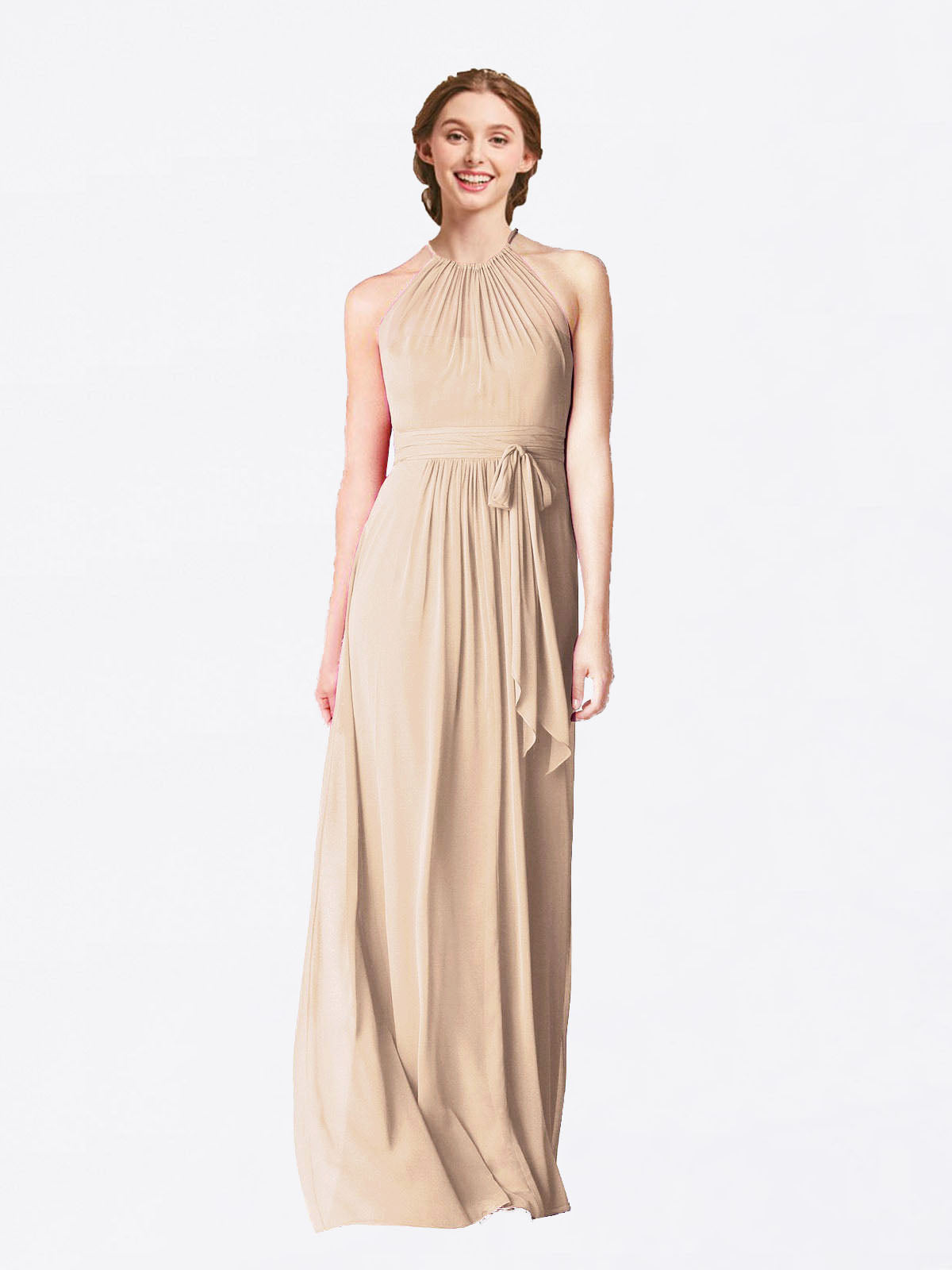 Long A-Line Halter Sleeveless Champagne Chiffon Bridesmaid Dress Laura
