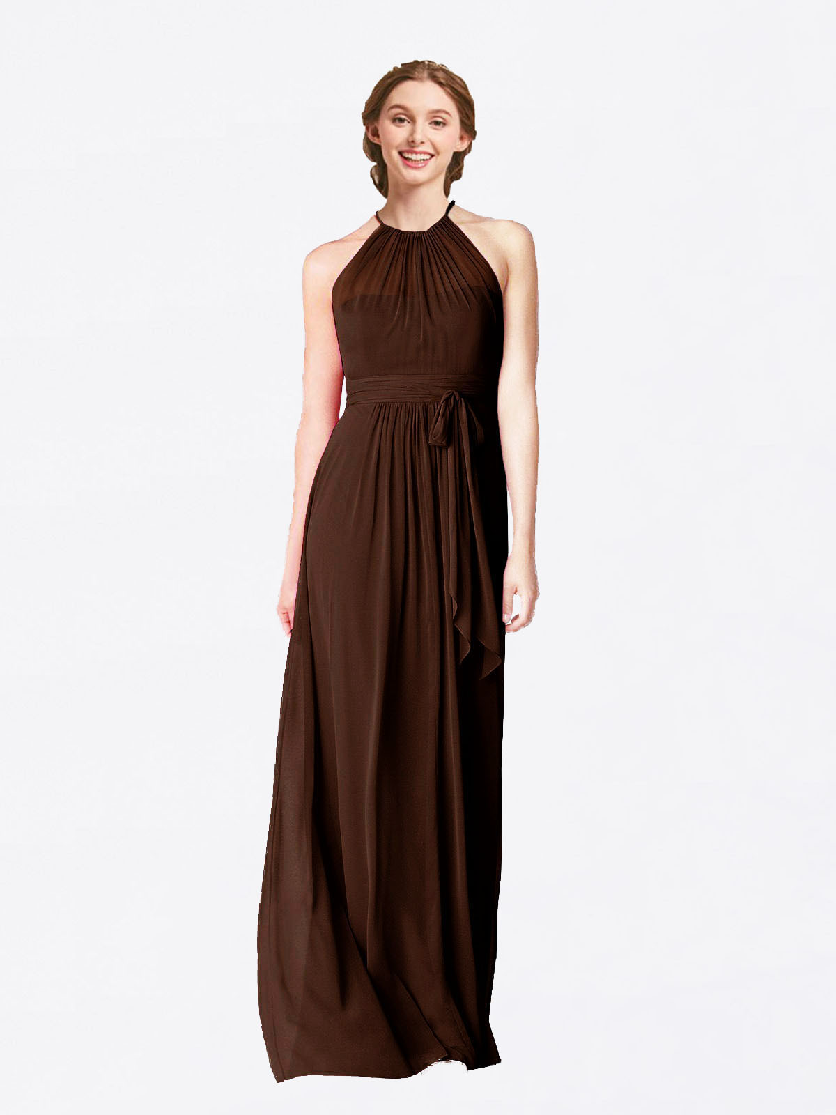 Long A-Line Halter Sleeveless Chocolate Chiffon Bridesmaid Dress Laura