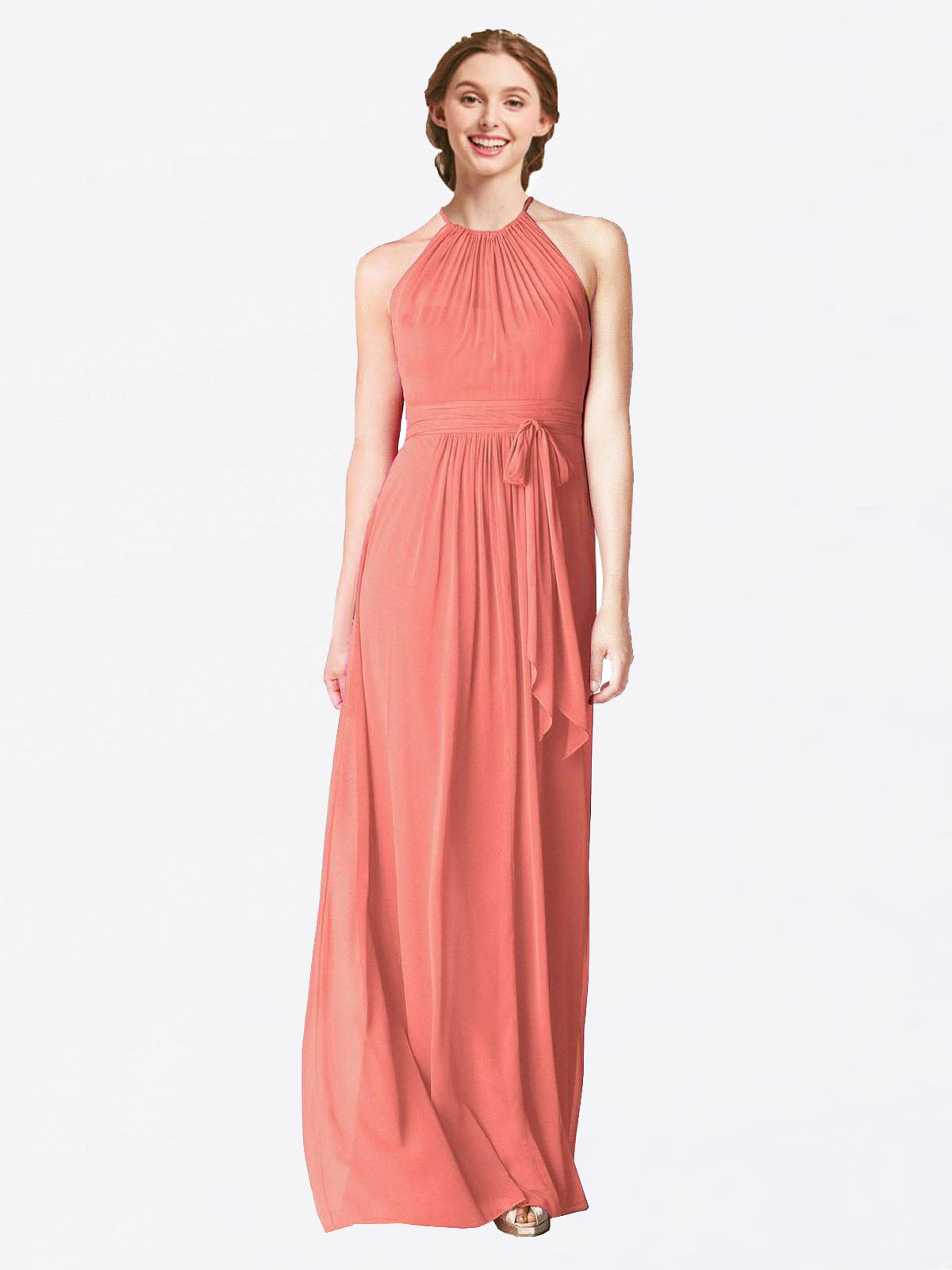 Long A-Line Halter Sleeveless Coral Chiffon Bridesmaid Dress Laura