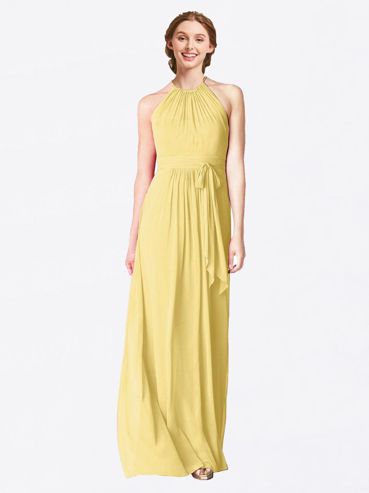 Long A-Line Halter Sleeveless Daffodil Chiffon Bridesmaid Dress Laura