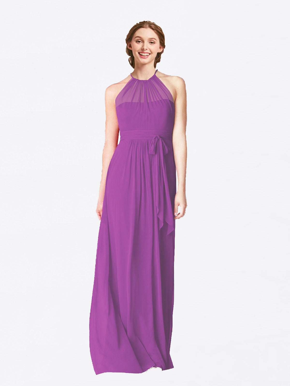 Long A-Line Halter Sleeveless Dahlia Chiffon Bridesmaid Dress Laura
