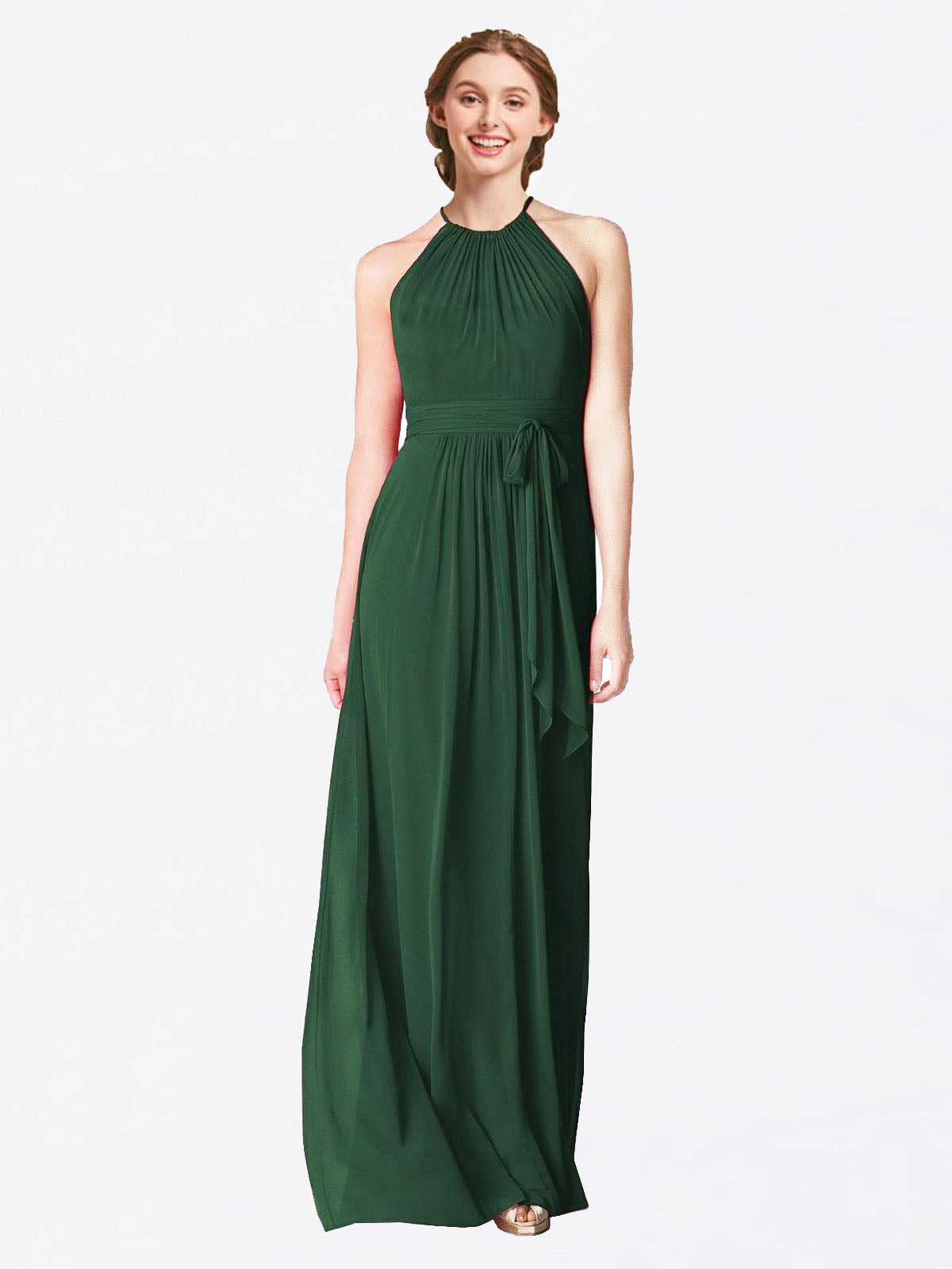 Long A-Line Halter Sleeveless Dark Green Chiffon Bridesmaid Dress Laura