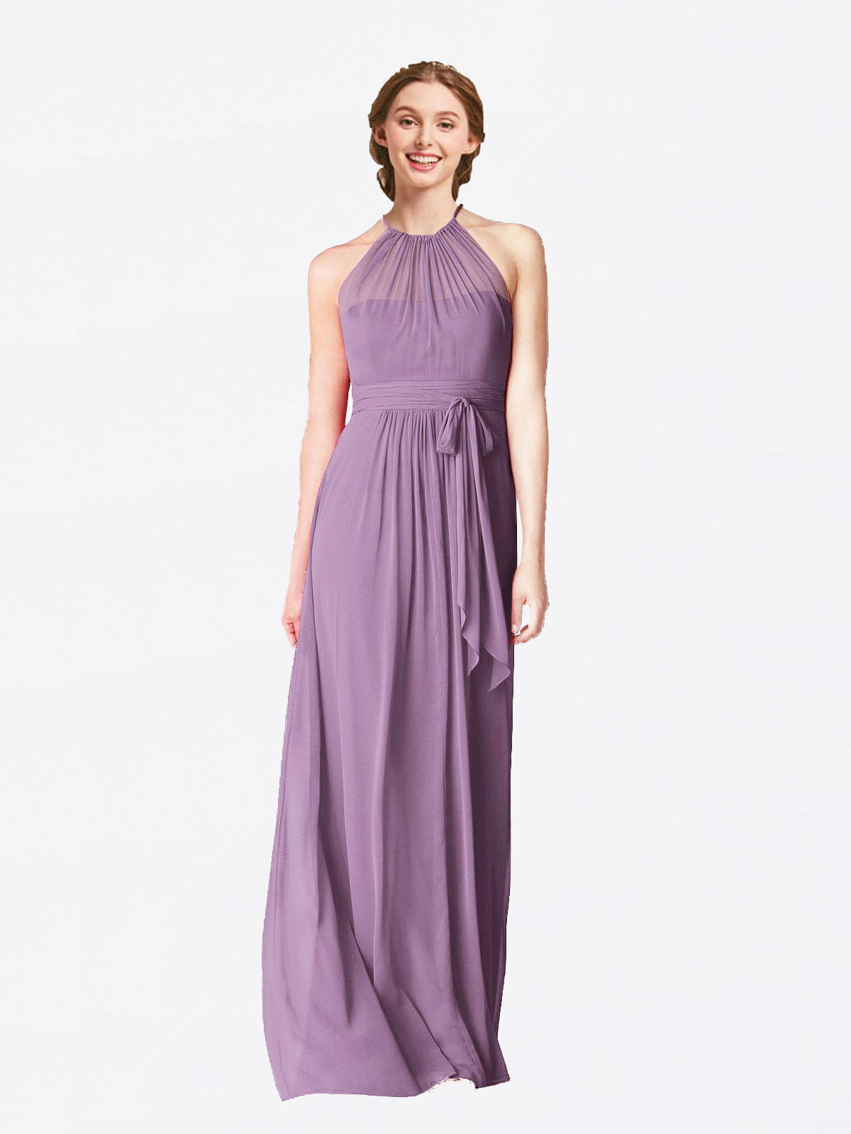 Long A-Line Halter Sleeveless Dark Lavender Chiffon Bridesmaid Dress Laura
