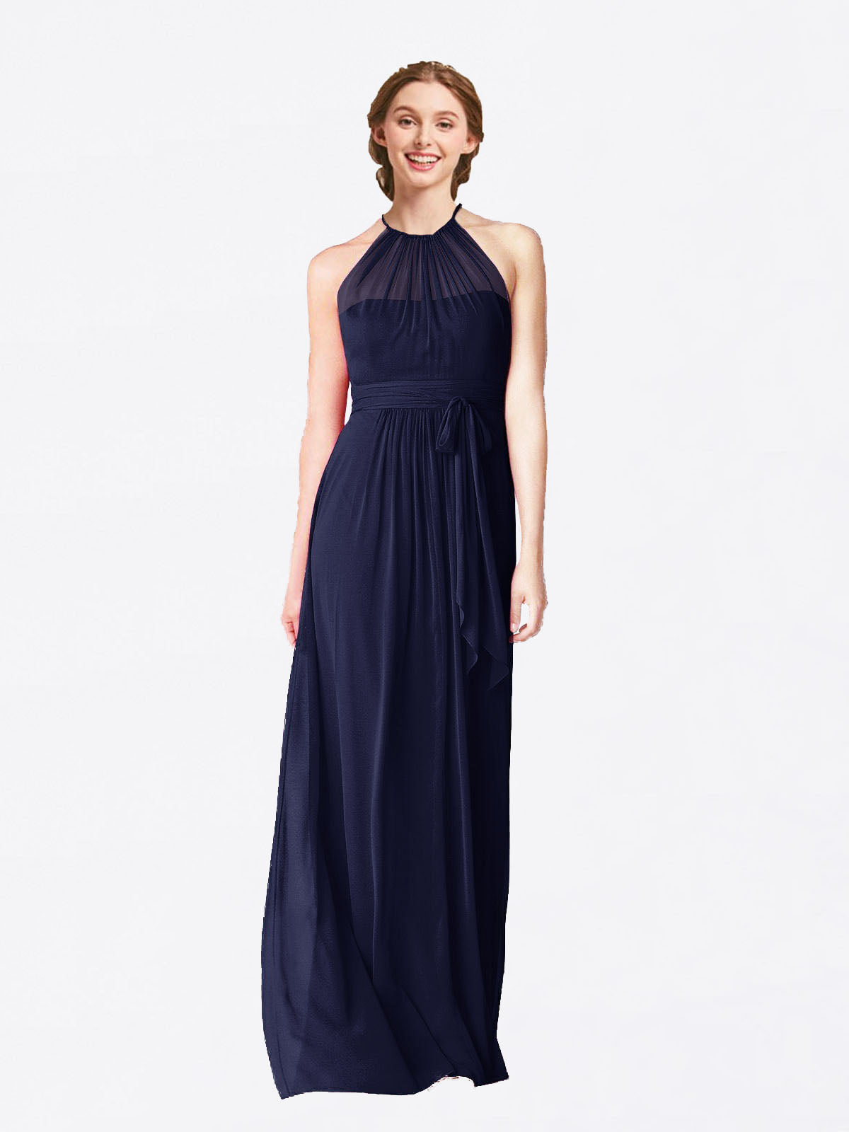 Long A-Line Halter Sleeveless Dark Navy Chiffon Bridesmaid Dress Laura