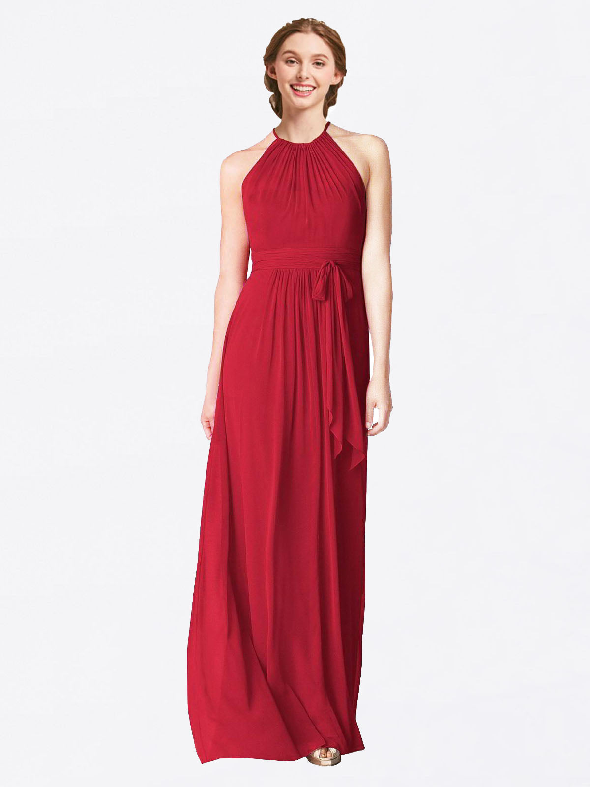 Long A-Line Halter Sleeveless Dark Red Chiffon Bridesmaid Dress Laura