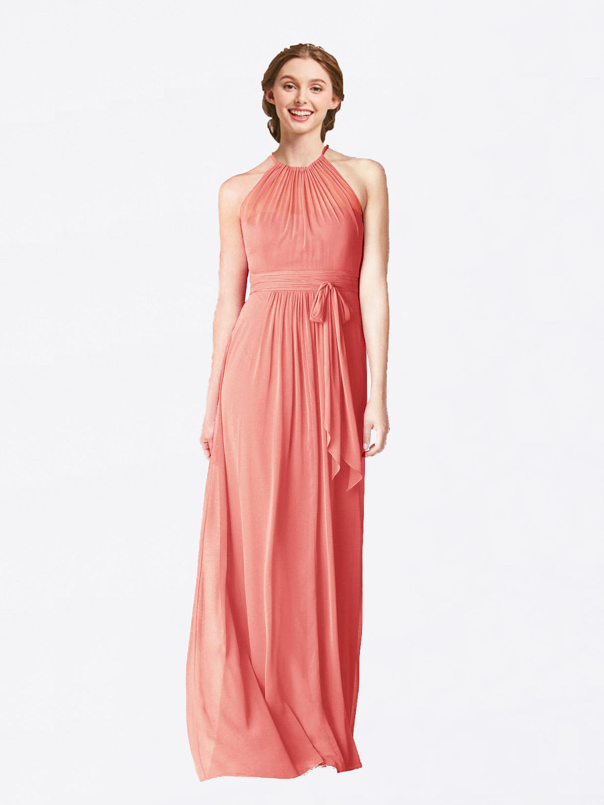 Long A-Line Halter Sleeveless Desert Rose Chiffon Bridesmaid Dress Laura