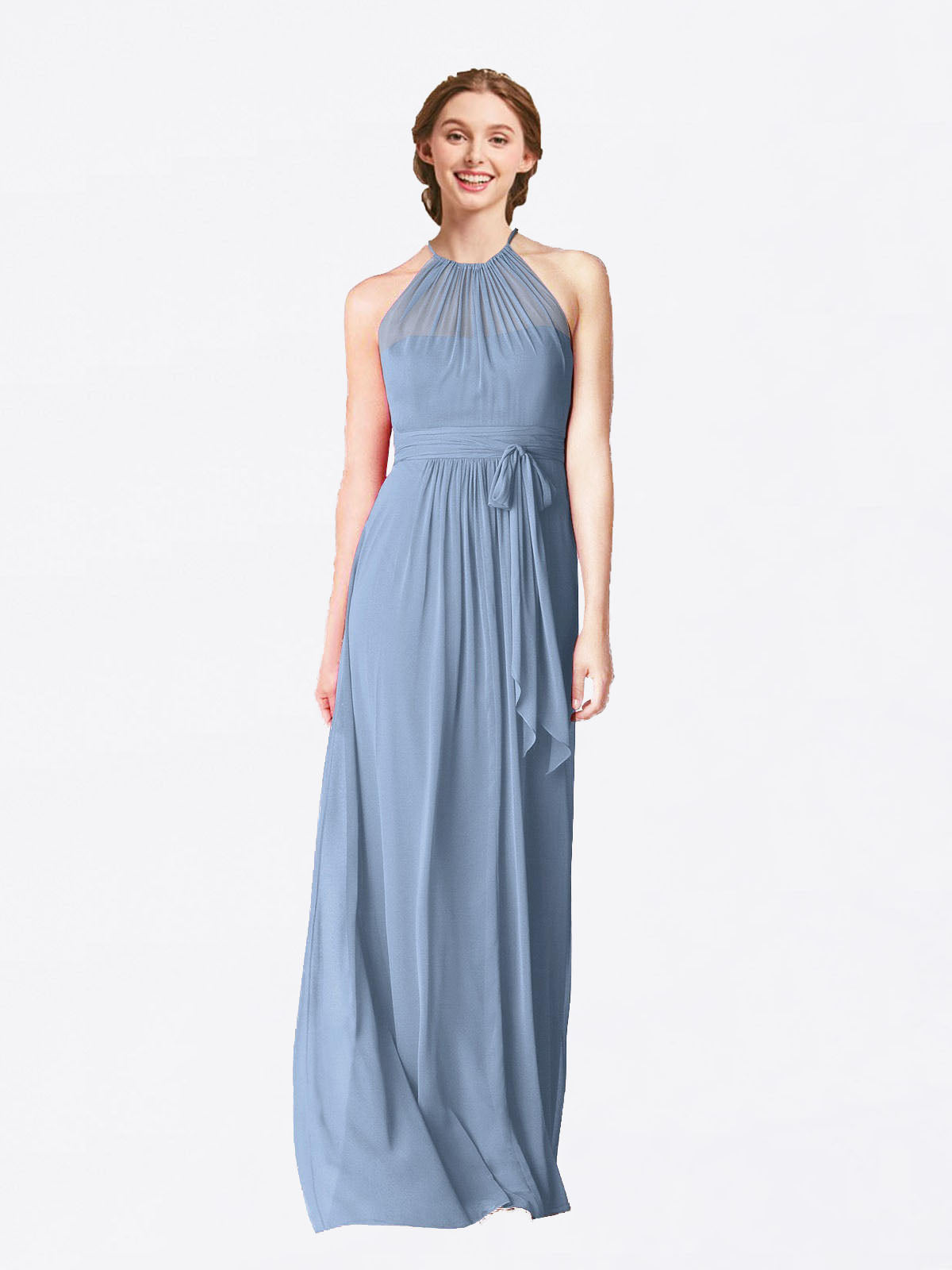 Long A-Line Halter Sleeveless Dusty Blue Chiffon Bridesmaid Dress Laura