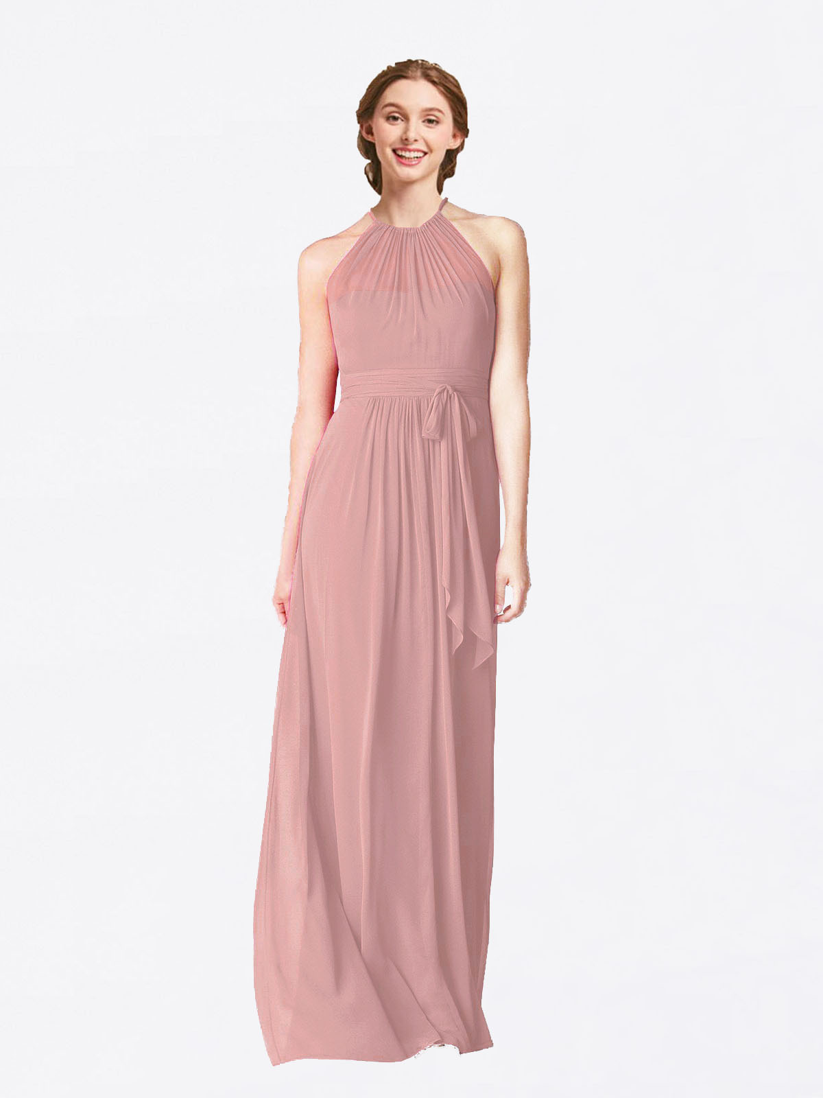 Long A-Line Halter Sleeveless Dusty Pink Chiffon Bridesmaid Dress Laura