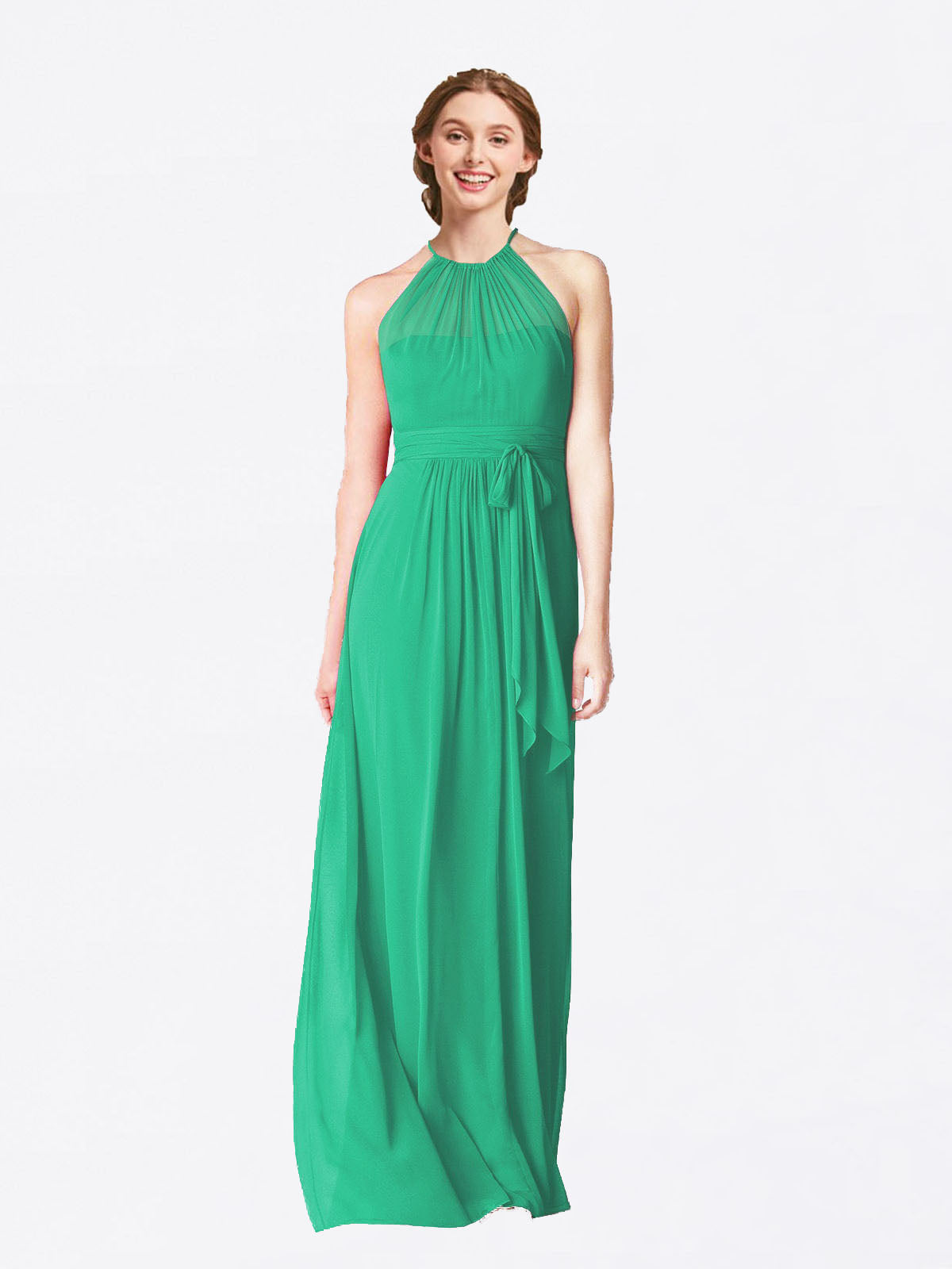 Long A-Line Halter Sleeveless Emerald Green Chiffon Bridesmaid Dress Laura