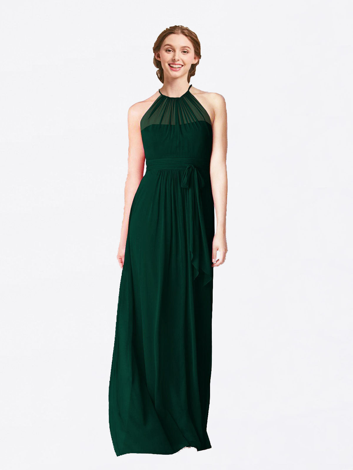 Long A-Line Halter Sleeveless Ever Green Chiffon Bridesmaid Dress Laura