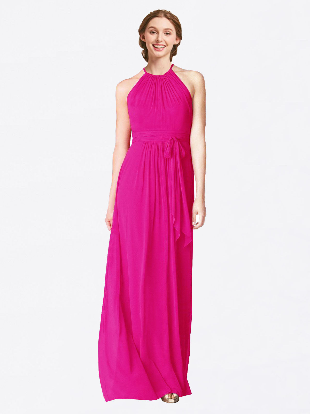 Long A-Line Halter Sleeveless Fuchsia Chiffon Bridesmaid Dress Laura