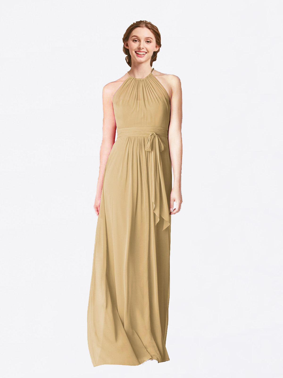 Long A-Line Halter Sleeveless Gold Chiffon Bridesmaid Dress Laura
