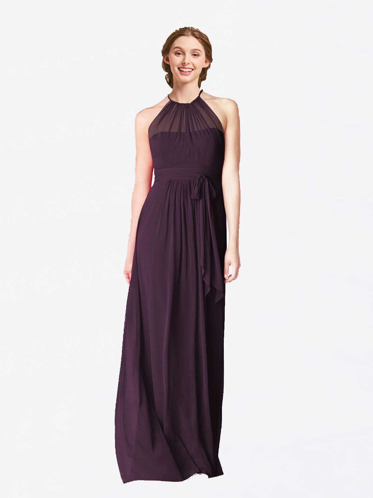 Long A-Line Halter Sleeveless Grape Chiffon Bridesmaid Dress Laura