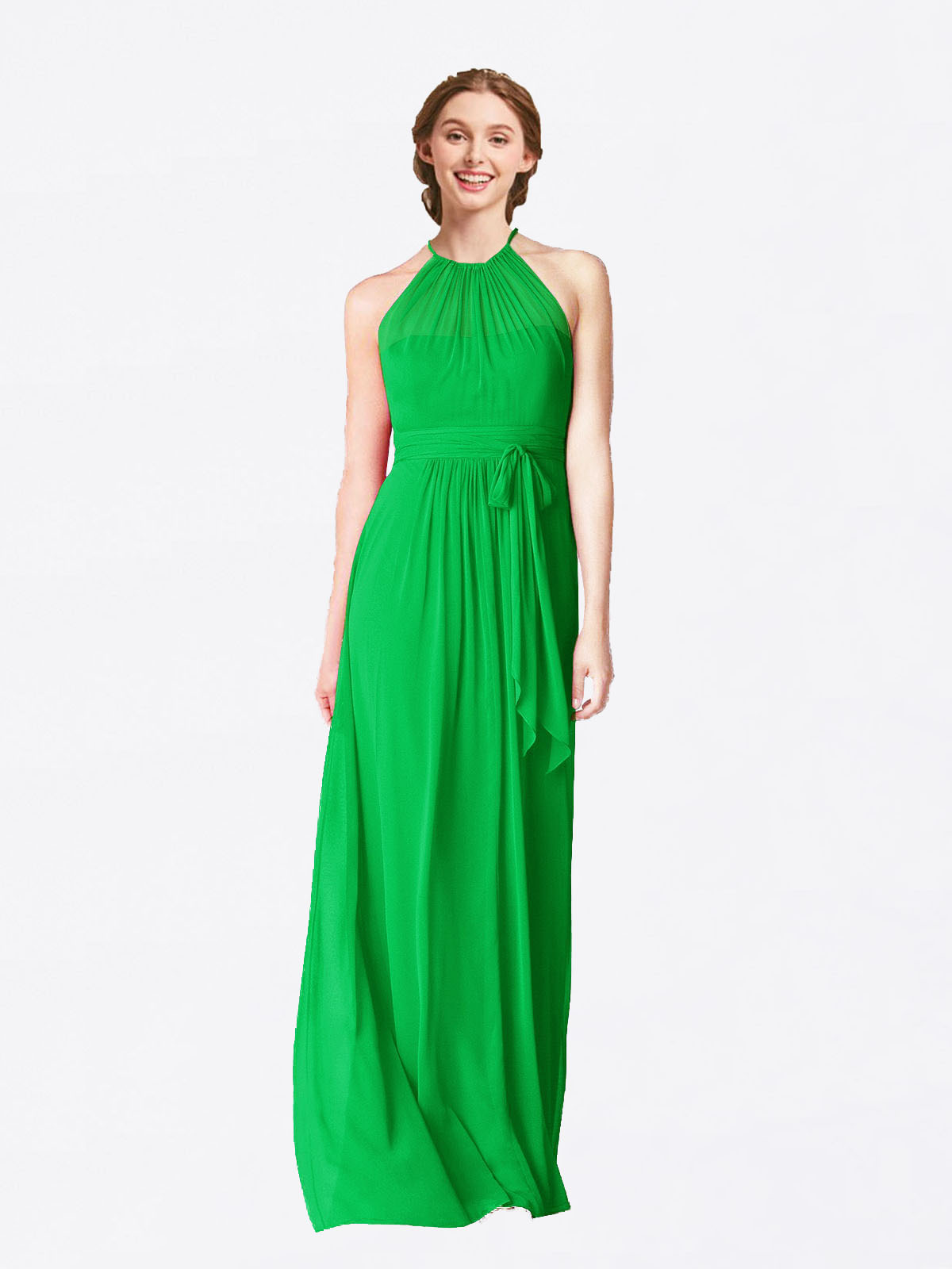 Long A-Line Halter Sleeveless Green Chiffon Bridesmaid Dress Laura