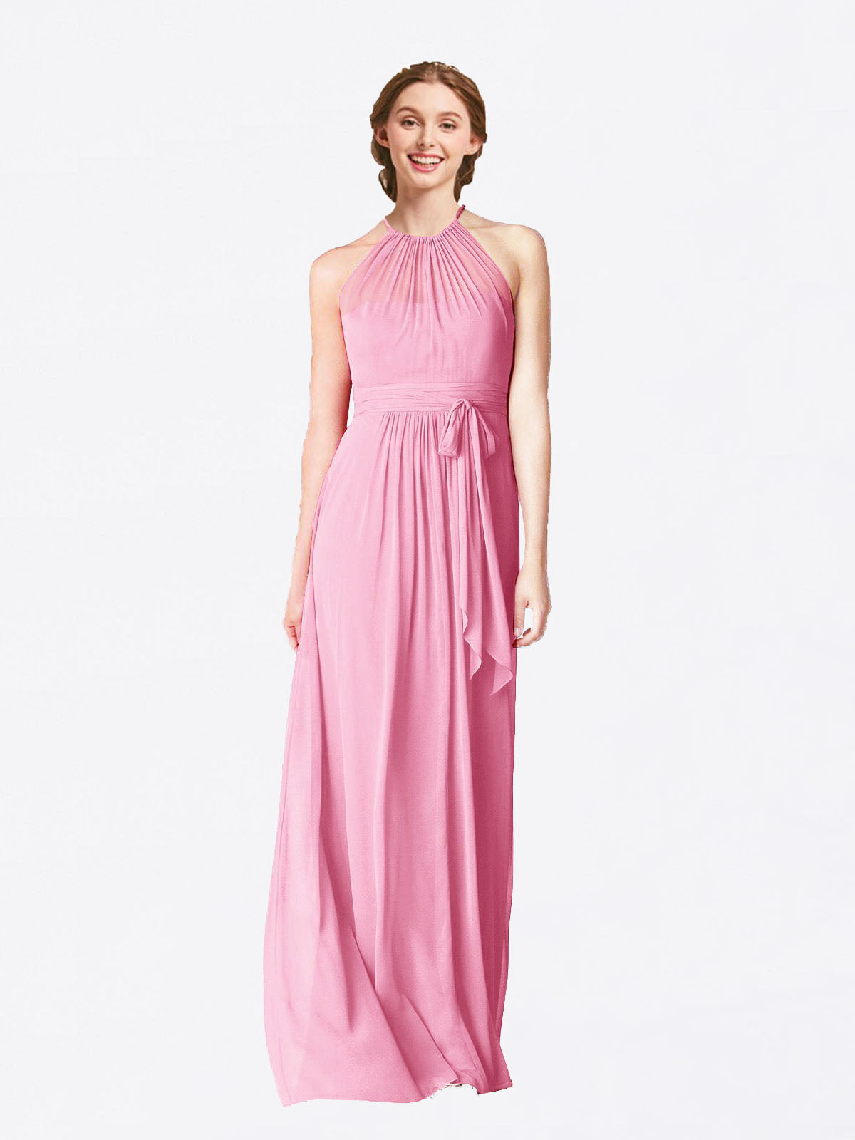 Long A-Line Halter Sleeveless Hot Pink Chiffon Bridesmaid Dress Laura