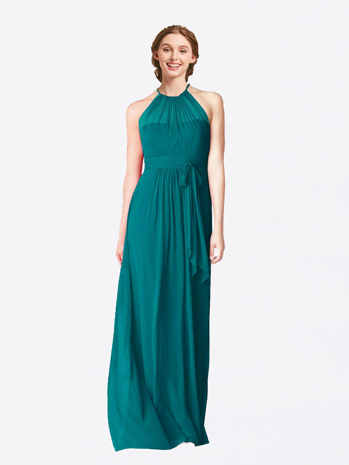Long A-Line Halter Sleeveless Hunter Chiffon Bridesmaid Dress Laura