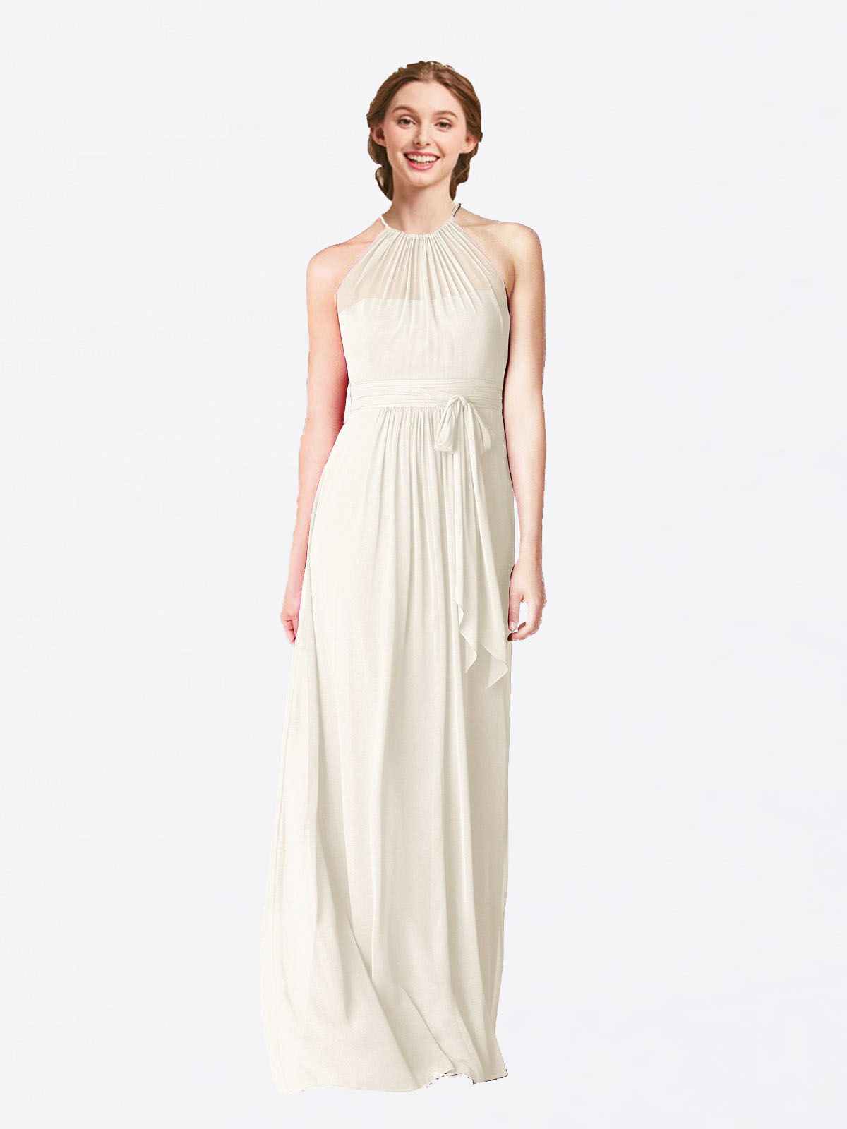 Long A-Line Halter Sleeveless Ivory Chiffon Bridesmaid Dress Laura