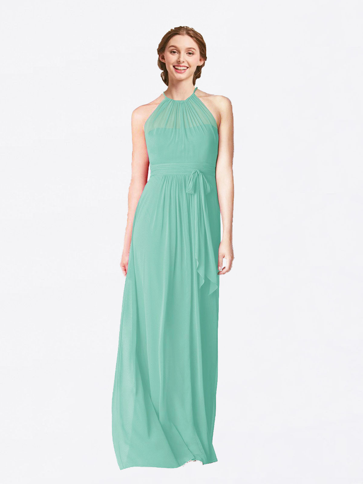 Long A-Line Halter Sleeveless Jade Chiffon Bridesmaid Dress Laura