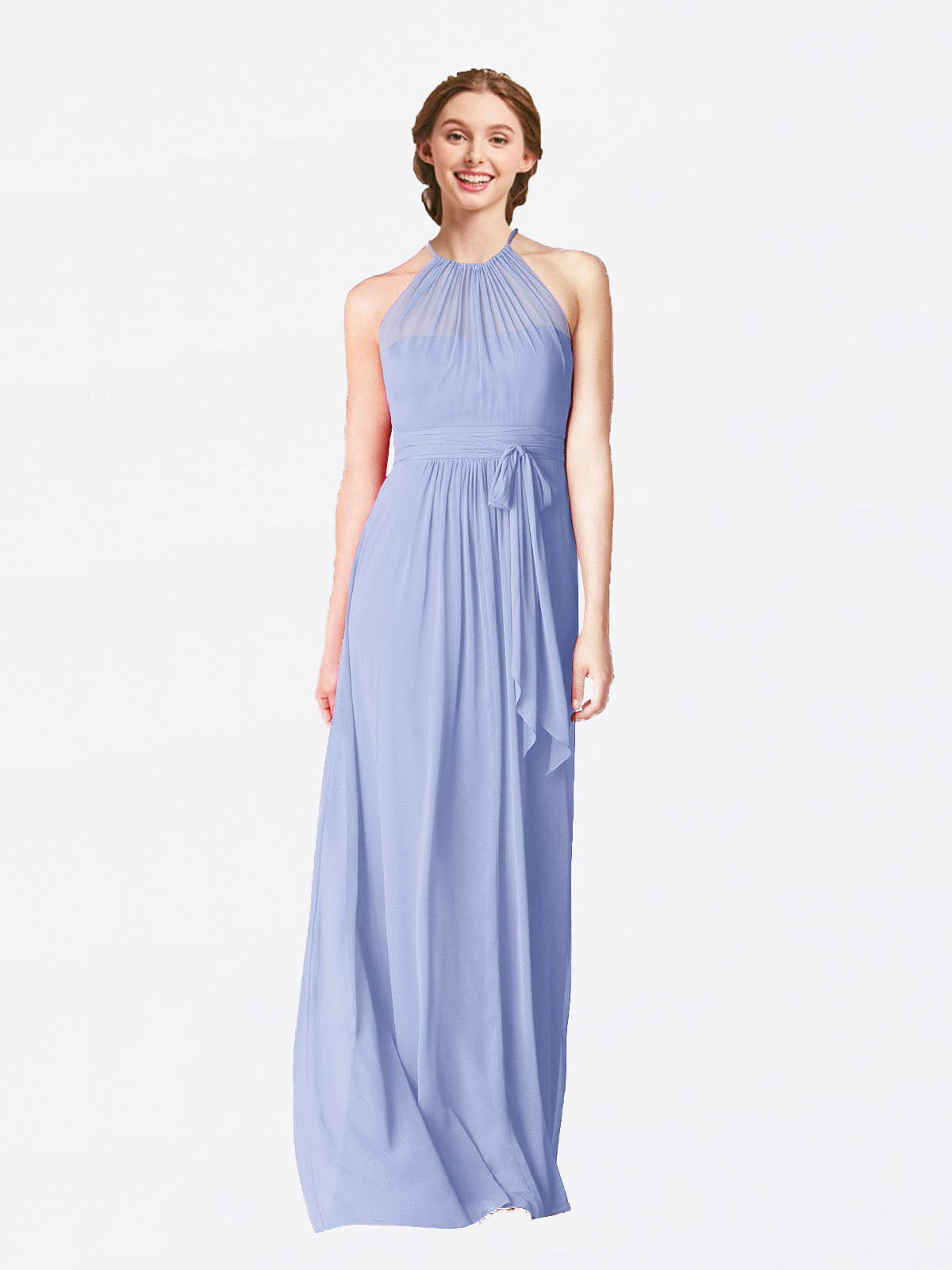 Long A-Line Halter Sleeveless Lavender Chiffon Bridesmaid Dress Laura