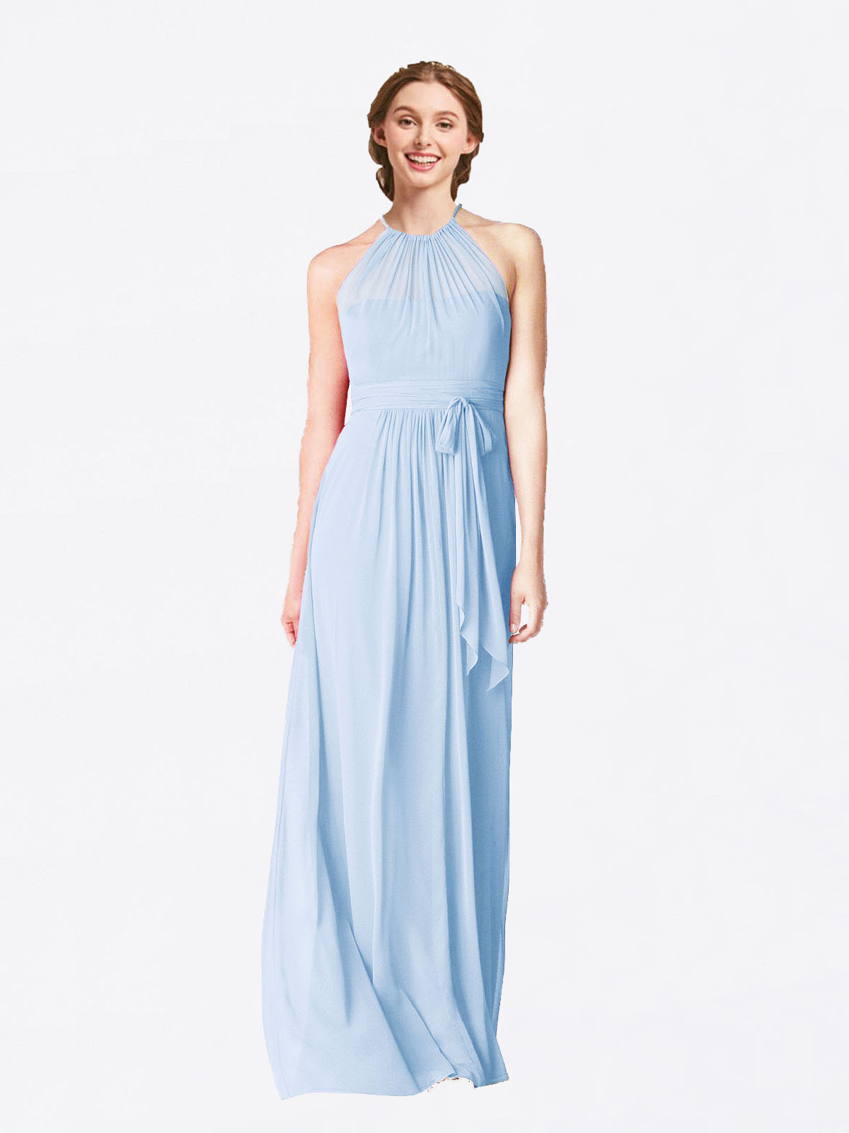 Long A-Line Halter Sleeveless Light Sky Blue Chiffon Bridesmaid Dress Laura