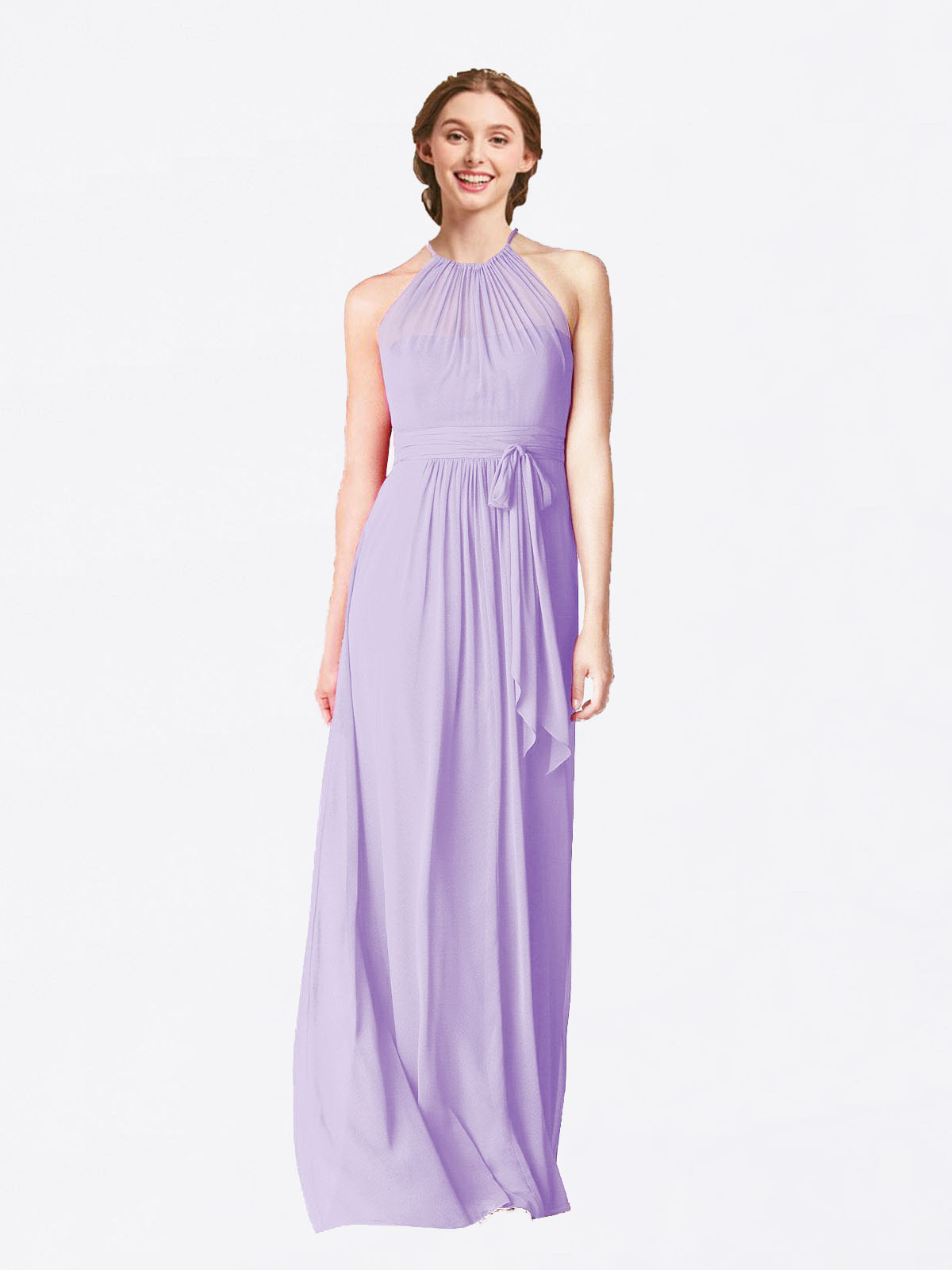 Long A-Line Halter Sleeveless Lilac Chiffon Bridesmaid Dress Laura