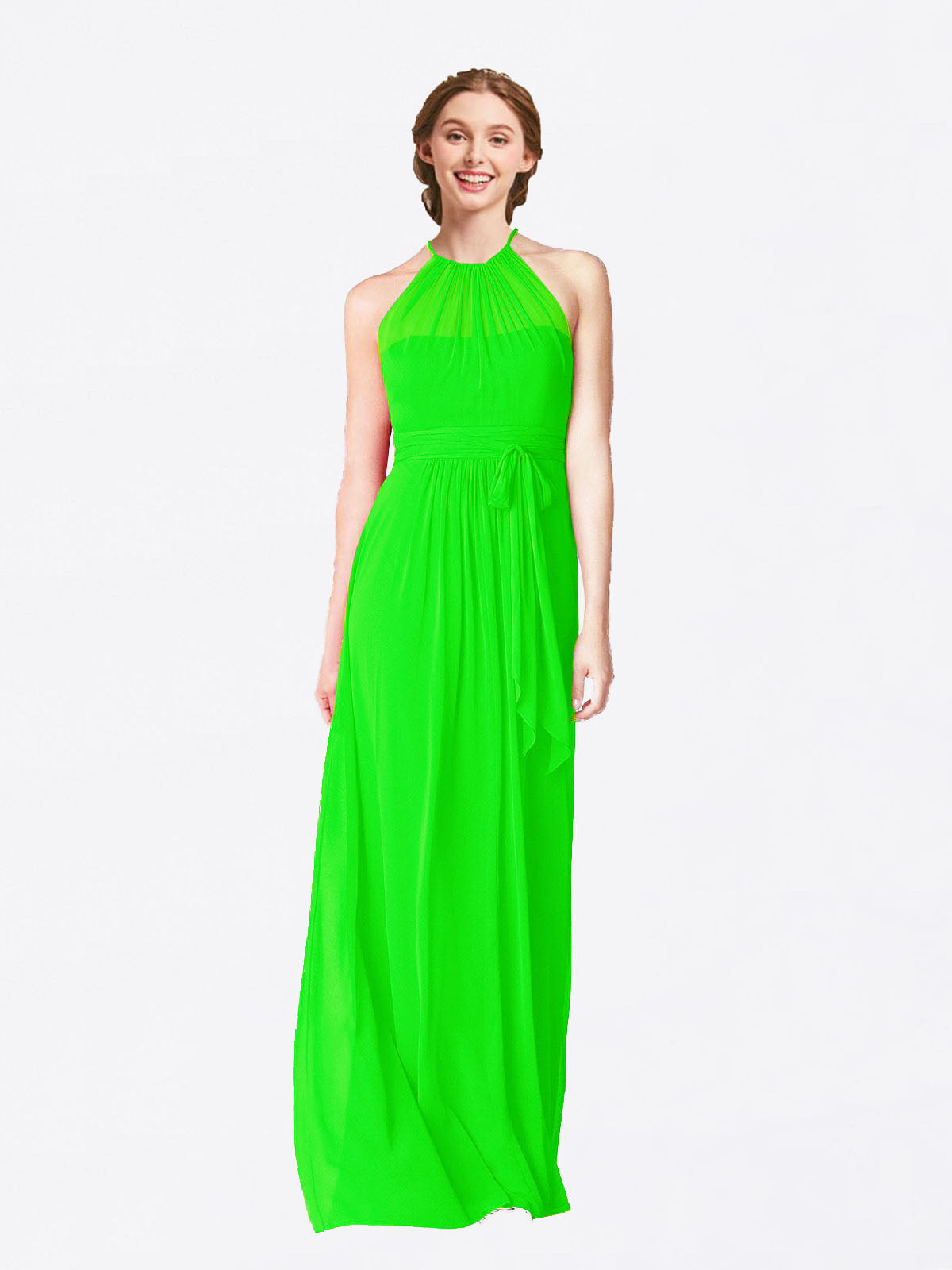 Long A-Line Halter Sleeveless Lime Green Chiffon Bridesmaid Dress Laura
