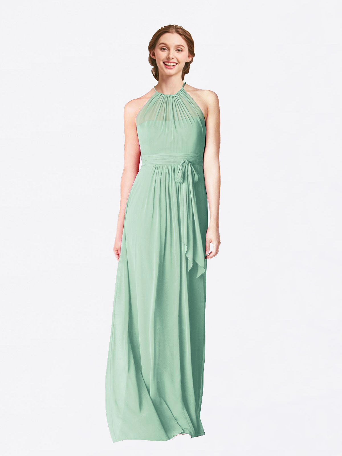Long A-Line Halter Sleeveless Mint Green Chiffon Bridesmaid Dress Laura