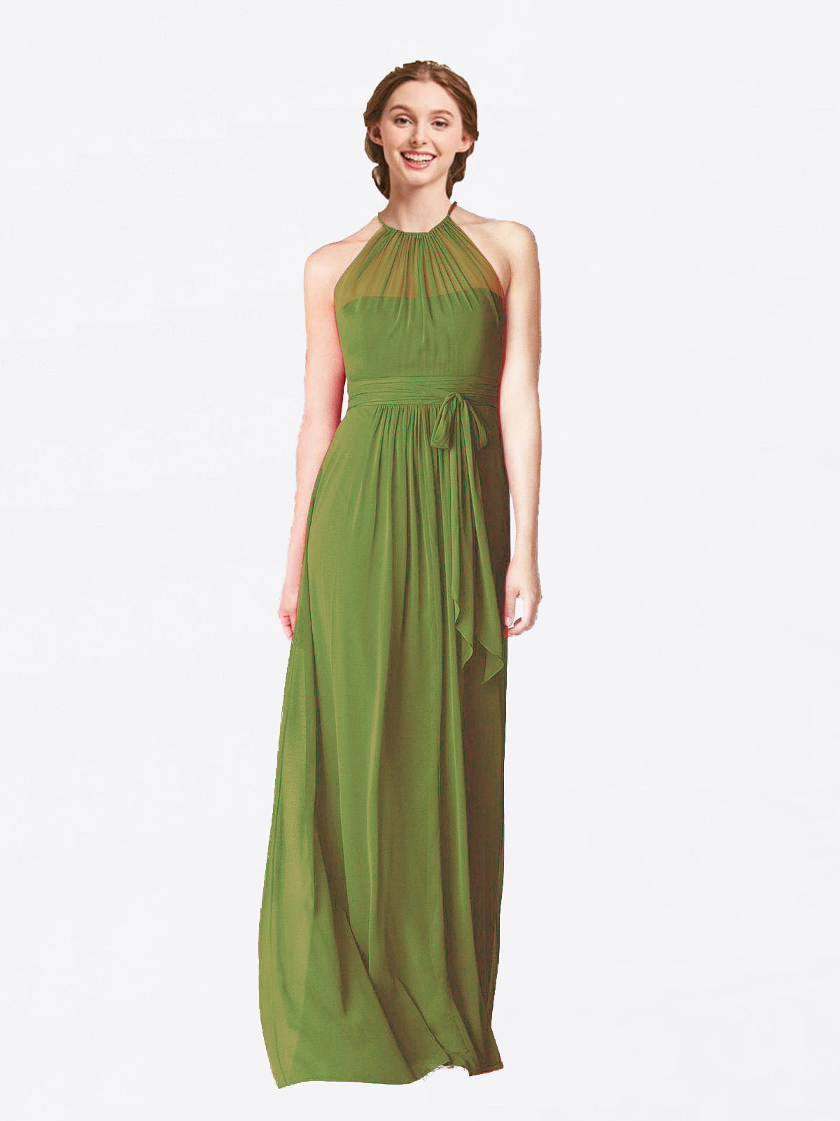 Long A-Line Halter Sleeveless Olive Green Chiffon Bridesmaid Dress Laura