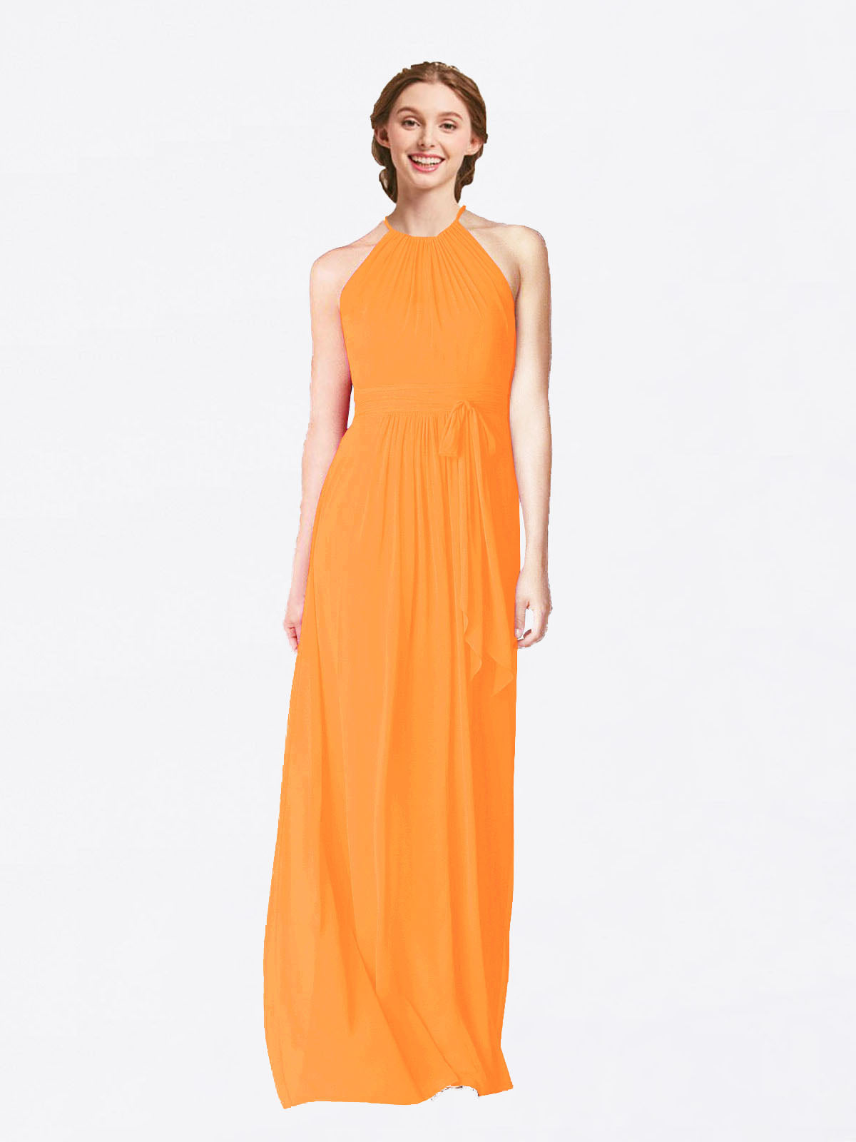 Long A-Line Halter Sleeveless Orange Chiffon Bridesmaid Dress Laura