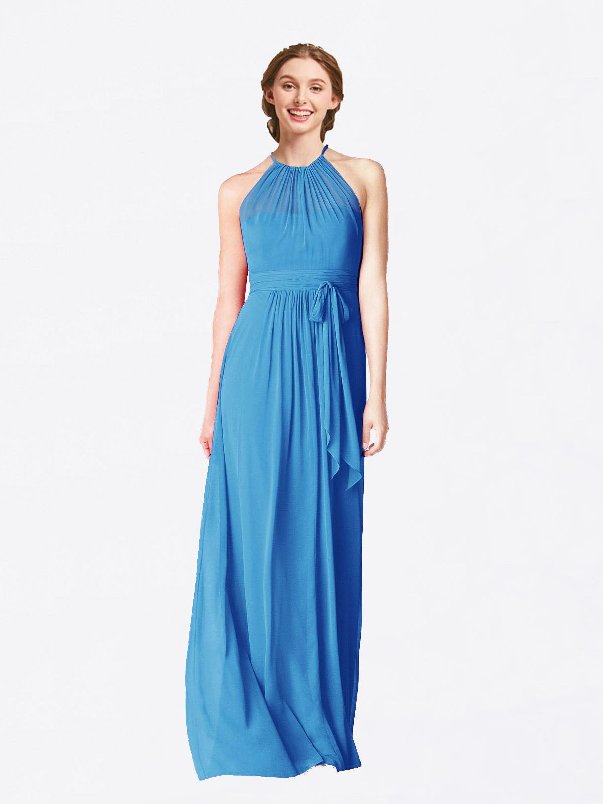 Long A-Line Halter Sleeveless Peacock Blue Chiffon Bridesmaid Dress Laura
