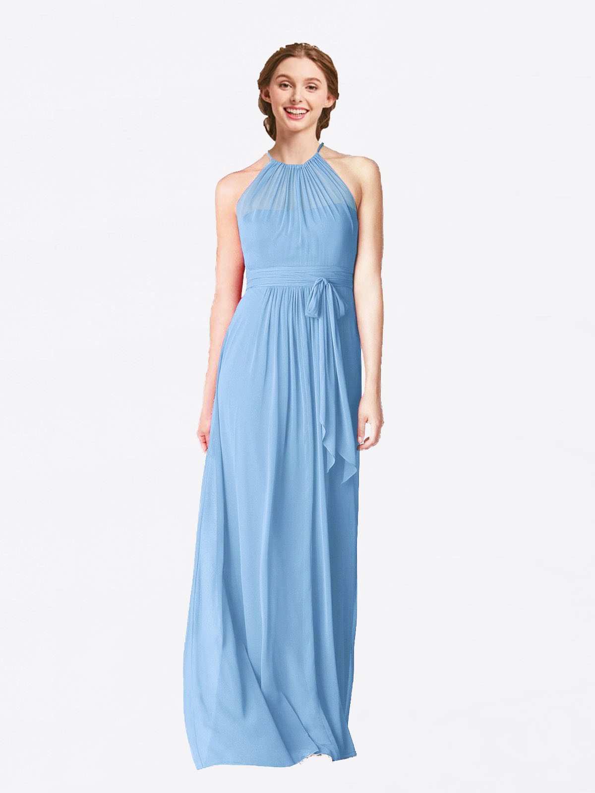 Long A-Line Halter Sleeveless Periwinkle Chiffon Bridesmaid Dress Laura