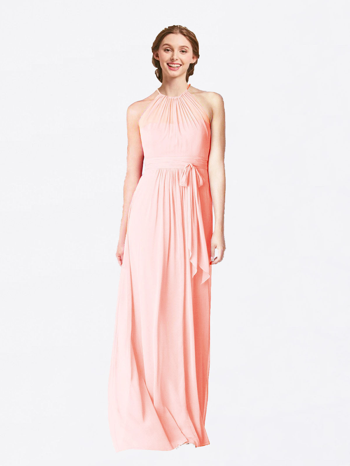 Long A-Line Halter Sleeveless Pink Chiffon Bridesmaid Dress Laura